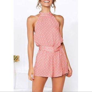 halter neck sleeveless romper